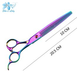 $enCountryForm.capitalKeyWord NZ - Hot sale for uk market Rainbow color 8 inch stainless steel dog hair thinning scissors with customers'logo