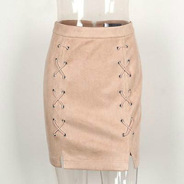 c5ec54d7a7 Discount beige lace pencil skirt - Wholesale- Autumn winter lace up leather  suede pencil skirt