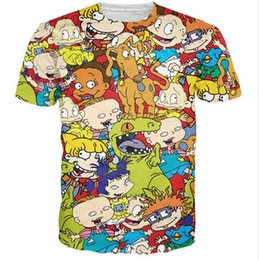 Historieta Del Hip-hop Camisetas Baratos-Regalo de Chrismas dibujos animados Rugrats intermitente camiseta impresa all-over 3D Hombres para Rock Disco Party mujeres camisetas hip hop casual camisa manga corta