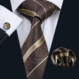 brown tie hanky sets NZ - Brown Stripe Neck Tie Set Pocket Square Cufflinks Jacquard Woven Formal Mens Silk Tie Work Meeting Leisure N-0506