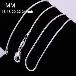 100 unids 925 plata P serpiente lisa cadenas Collar 1MM cadena de la serpiente mezclado tamaño 16 18 20 22 24 pulgadas de la venta caliente