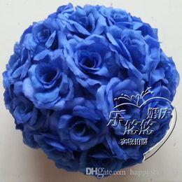 $enCountryForm.capitalKeyWord Canada - 10pcs Blue Artificial Silk Flower Kissing Balls Hanging rose Balls Christmas Ornaments Wedding Party Decorations rose bouquet balls