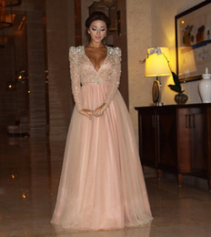 modern maternity clothes 2021 - Arabic Dubai Kaftan Myriam Fare Pink Prom Dresses Party Gowns Shining Crystal Beaded Deep V Neck Formal Clothing Evening