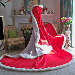 $enCountryForm.capitalKeyWord Canada - Red Christmas Wedding Cloak Winter Bridal Cape 96 inch White Satin with Fur Trim Reversible Hooded Cape Cloak For Formal Occasion Party