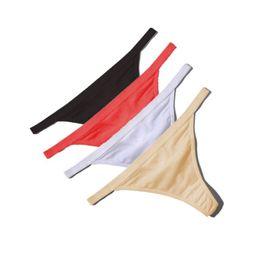 bb1085b78d1 Wholesale Sexy Women Cotton G String Thongs Low Waist Sexy Panties Ladies   Seamless Underwear Black Red White Skin