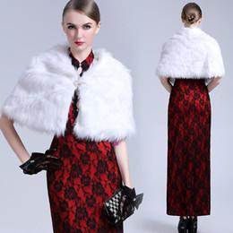 White Short Sleeve Faux Fur Canada - Fashion Short White Winter Tiered Warm Faux Fur Shrug Wedding Wraps With Long Sleeve Free Shipping Women Bride Prom Party Bridal Shawl