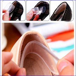 heels flat feet Canada - Silicone Gel Heel Liner Foot Care Shoe Pads transparent slip-resistant Protector invisible Cushion Insole