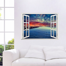 $enCountryForm.capitalKeyWord NZ - 3D Window View Sea Scenery Wall Art Mural Decor Living Room Bedroom Background Wall Applique Poster Home Art Decal Sticker