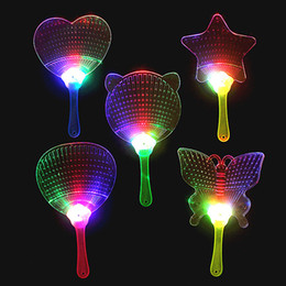 Chinese  New Halloween Christmas Colorful Flash Fan Light emitting fan Pushan advertising Gift LED Flash light Fan Toys C100 manufacturers