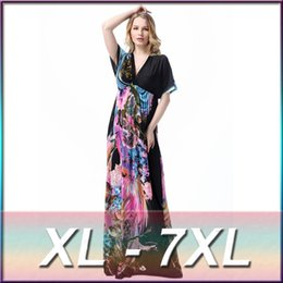 V Robe De Robe Pas Cher-2016 Vêtements d'été Femmes V-cou sexy Plus-size Imprimer Ice Silk Floor-length Beach Dress Femme High-end Fashion Slim Long Dress