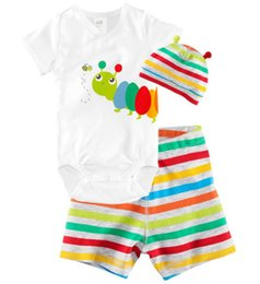 Wholesale Vêtements de bébé animal de girafe à manches courtes Romper Hat Pant Set For Baby Boy Summer Girl Vêtements bébé Roupa De Bebe