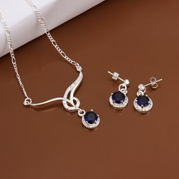 $enCountryForm.capitalKeyWord Canada - High grade 925 sterling silver Animal Set - Blue jewelry sets DFMSS597 brand new brand new Factory direct sale wedding necklace earring