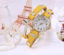 $enCountryForm.capitalKeyWord Canada - free shippng 2015 New women vintage drill bracelet women watches with cross,fashion leather strap quartz watches,women dress watches