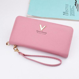 $enCountryForm.capitalKeyWord Canada - Wholesale brand new package lovely lady candy color women wallet grace litchi grain leather purse fashion large capacity with long wallet