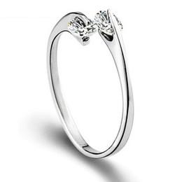 Бесплатная доставка стерлингового серебра 925 кольцо телестезия двойной Кристалл открытый дизайн простой обручальные кольца женщина ювелирные изделия EH128