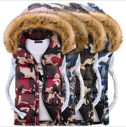 Green Fur Hooded Coat Mens Canada - 2015 Men and Women Couple Models Jacket Down Cotton Hooded Fur Collar Vest Fashion Camouflage Thick Cardigan Mens Vest Coats for Lovers