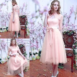lace tulle pink beach bridesmaid dresses cheap maid of honor wedding party prom gowns high neck keyhole corset back evening wear
