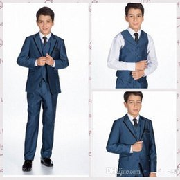 Business Model Canada - 2015 Handsome Wedding Party Business Boy's Formal Wear Suits Boy's Tuexdos Peaked Lapel Boys' Formal Attire