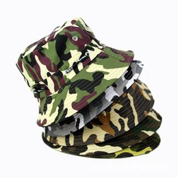 7f63aa77bef Wholesale-Fashion Camping Hiking Hunting Fishing Outdoor Cotton Camouflage  Fishing Bucket Hat Cap Hip Hop Men Women
