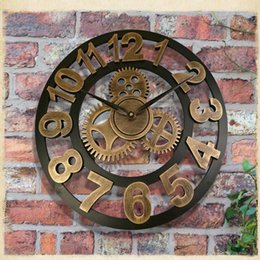 3d retro rustic decorative luxury art big gear wooden vintage large wall clock on the wall for gift