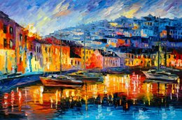 Russian Paintings NZ - Free Shipping no frame on Canvas Prints Russian Federation Oil Painting Forest path Venice ship river street lamp lighting Bridge doorway
