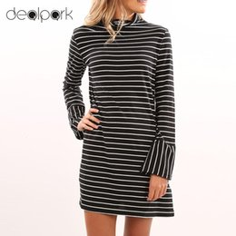 Barato Vestido Preto Com Listra Preta-2017 New Autumn Vestidos de manga comprida Mulheres Stripe Vestido Turtleneck Casual Loose Pencil Mini Dress Vestidos baratos XL Black q1113