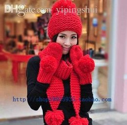 Hottest Scarves NZ - Wholesale-Hot--Free shipping! Winter new arrival big knitting wool ball yarn scarf hat gloves piece set kit female