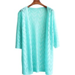 China Wholesale- Summer Spring New Loose Knit Cardigan Long Sun Shirt Thin Hollow air-conditioned Shirt Sweater Women Clothing Vestidos LXJ235 cheap long thin summer sweater suppliers