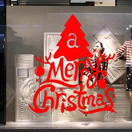 Christmas Removable Window Stickers Canada - Free DHL Home decoration wall decals Christmas decorations Window Stickers mural wall stickers home decor wallpaper LA74-1