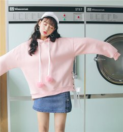 Barato Japonês Bonito Ocasional-Lace-up Hooded Pullovers Mulheres Outono manga comprida Hoodies Fleece Feminino Casual Sweatshirts New Japan Style Cute Pink