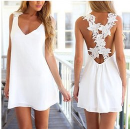 Polyester Dresses China Canada - Newest summer UK size Womens Sexy Mini Playsuit White Jumpsuit Summer Shorts Beach Sun Dress Shipping From China
