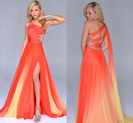 ombre chiffon evening gown Canada - Gradient Ombre Prom Dresses Orange Chiffon Side Split Evening Formal Gown One-Shoulder Party Dress Criss Cross Straps Back Beautiful