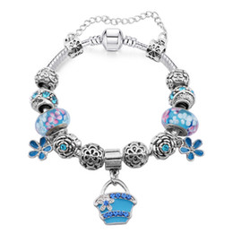 $enCountryForm.capitalKeyWord Canada - Elegant Charm Bracelets with Blue Handbag Dangles & Flower Murano Glass Beads Fashion Snake Chain Bangle Bracelets for Women BL108