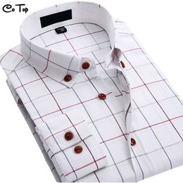 Large Mens Dress Shirts Canada - Wholesale- New Mens Shirt Plaid Brand Business Dress Shirt Luxury Cotton Long Sleeve Social Caimisa Casual Shirt Large Size
