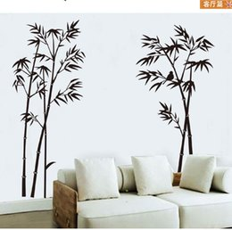 diy nature home decor mural UK - New DIY Wall Sticker Mural Home Art Decor Black Bamboo TV backdrop Bedroom Bed Living Room Decals Wallpaper Decoration