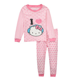 Discount new summer baby girl hello kitty Gilrs Set With Printed Hello Kitty Baby Girls Pajamas Long Sleeve For Girls Set Children Clothing Sport Sets Two Pieces