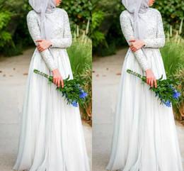 $enCountryForm.capitalKeyWord Canada - Muslim Wedding Dresses With Hijab Simple Pure White Beaded C rystals High Neckline Long Sleeve Chiffon Islamic Wedding Dress
