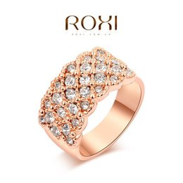 $enCountryForm.capitalKeyWord Australia - 2016 Brand Bling Bling Crystal Zircon Ring Wedding Engagement Ring Full Size Real 24K Rose Gold Filled Fashion Jewelry A038