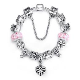 $enCountryForm.capitalKeyWord Canada - Fashion Charm Bracelets with Munrano Glass Beads & Purse Silver Charms & Heart Dangles New Bangle Bracelets for Women BL082