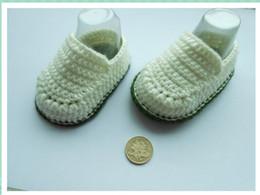 Wholesale Cotton Baby Booties Canada - Hot Sale Boy Crochet baby ballet shoes handmade infant booties toddler shoes 0-12M cotton 10pcs lot custom
