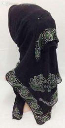 Muslims Scarves Canada - Wholesale-new style rhinestones muslim square scarf hijab FJ0107