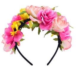 $enCountryForm.capitalKeyWord Canada - New Women Wedding Floral Crown Flower Garlands Girl Lovely Hairband Tiara Festival Ornament Bohemian Style Beach Headbands for Wholesale