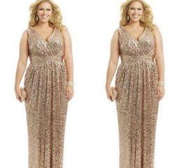 7e0c5795f9b Sexy Plus Size Dresses Rose Gold Sequin Sheath V-Neck Floor Length Evening  Gowns Formal Mother of the Bride Prom Dress Custom