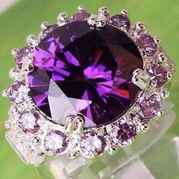 PurPle amethyst white gold ring online shopping - 03AR8 Round Cut Purple White Sapphire Amethyst Gemstone K Platinum Plated Ring Size