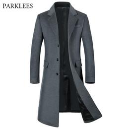 Wholesale- Extra Long Wool Trench Coat Men 2017 Winter Jacket Men Slim Fit Men's Trench Coats Single Breasted Male Windbreaker Overcoat 3XL