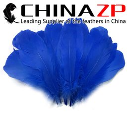 Dyed Goose Feathers Wholesale Canada - Newest Plumage CHINAZP Crafts Factory 100% Exporting 10~15cm(4~6inch) Top Quality Dyed Royal Blue DIY Decoration Goose Loose Feathers