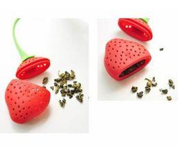 Discount tea filler - Silicone Strawberry Design Loose Tea Leaf Strainer Herbal Spice Infuser Filter Tools silicon tea filler bag ball dipper