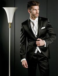 $enCountryForm.capitalKeyWord Canada - High Quality One Button Black Groom Tuxedos Notch Lapel Groomsmen Mens Wedding Dresses Prom Suits (Jacket+Pants+Vest+Tie) H430
