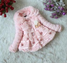 $enCountryForm.capitalKeyWord Canada - Pink Retail Girls faux fur coat Autumn Winter Clothes Children Kids Toddler children's Sweet flower outerwear jacket Warm clothing.