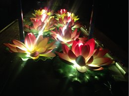 40cm dia artificial eva lotus lamp outdoor waterproof led landscape lighting project park water pool decoration for wedding christmas